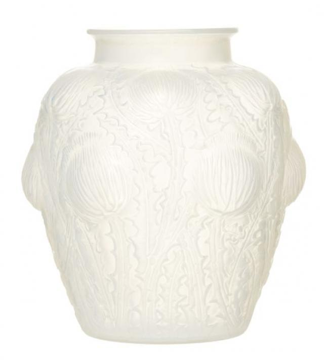 R. Lalique - Pre War Rene Lalique 'Domremy' Molded Glass Vase